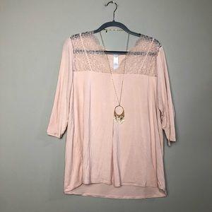 Hanro rose pink half sleeve lace yoke tee